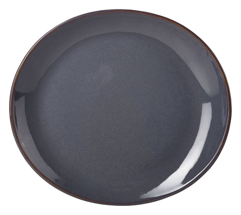 Genware PL-BL25 Terra Stoneware Rustic Blue Oval Plate 25x22cm, Tableware, Advantage Catering Equipment