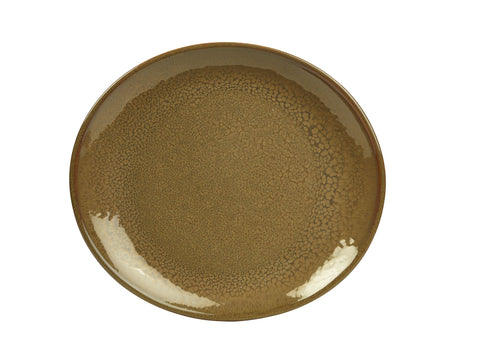 Genware PL-BR25 Terra Stoneware Rustic Brown Oval Plate 25x22cm, Tableware, Advantage Catering Equipment