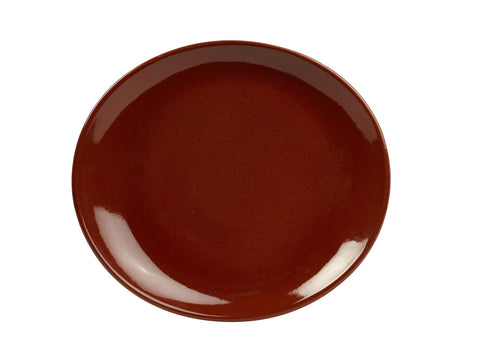 Genware PL-R21 Terra Stoneware Rustic Red Oval Plate 21x19cm, Tableware, Advantage Catering Equipment
