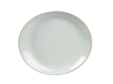 Genware PL-WH25 Terra Stoneware Rustic White Oval Plate 25x22cm, Tableware, Advantage Catering Equipment