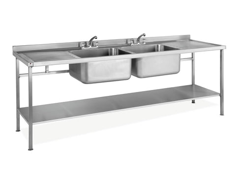 Parry 600mm Deep Stainless Steel Double Sink Unit with Double Drainer, Sinks, Advantage Catering Equipment