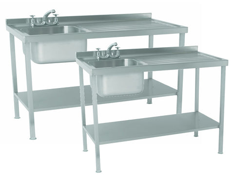 Parry 600mm Deep Stainless Steel Sink Unit Range with Single Drainer