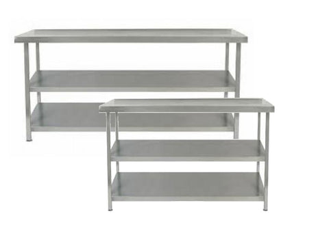 Parry 600mm Deep Stainless Steel Table 2 Undershelves Range