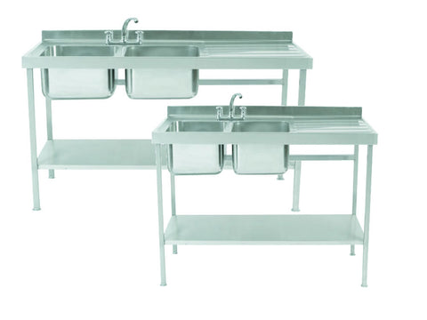 Parry 700mm Deep Stainless Steel Double Sink Unit with Single Drainer, Sinks, Advantage Catering Equipment
