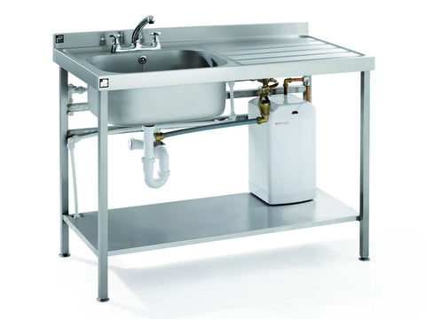 Parry Stainless Steel Quick Fit Sink Unit Range with Single Drainer & Boiler