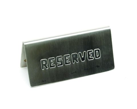 "Genware RES-01 S/St. Table Sign""Reserved"" 15 X 5cm, Menu,Signs & Display, Advantage Catering Equipment"