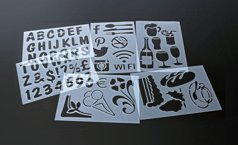 Genware SECSTN-5 Set Of 6 Stencils