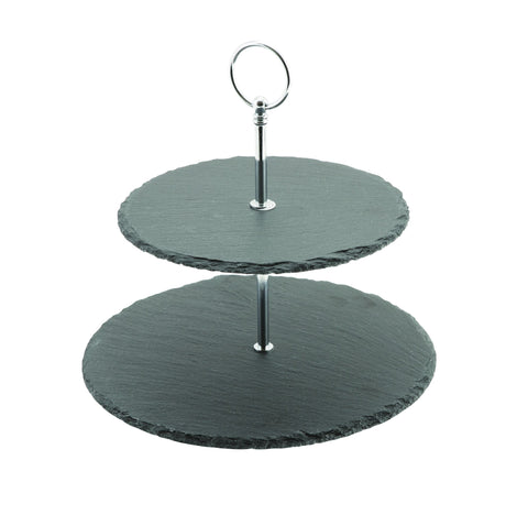 Genware SLT-2TCS  Slate 2-Tier Cake Stand 20/25cm, Buffet & Display, Advantage Catering Equipment