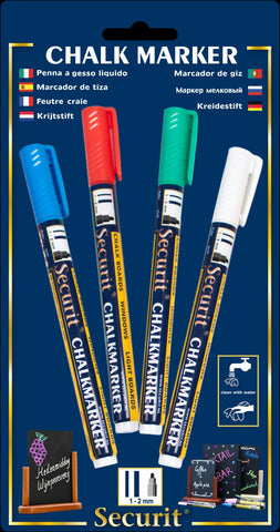 Genware SMA100-V4-COL Chalkmarkers 4 Colour Pack (R,G,W,Bl) Small, Menu,Signs & Display, Advantage Catering Equipment
