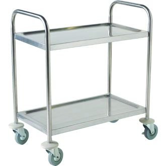 Genware TROL2S S/St. Trolley 85.5L X 53.5W X 93.3H-2 Shelves, Racking & Trolleys, Advantage Catering Equipment