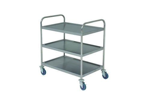 Genware TROL3S S/St. Trolley 85.5L X 53.5W X 93.3H 3 Shelves, Racking & Trolleys, Advantage Catering Equipment