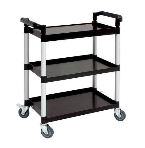 Genware TROLPC  Small 3 Tier PP Trolley Black Shelves, Racking & Trolleys, Advantage Catering Equipment