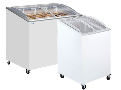 Tefcold SCEB Range Sliding Curved Glass Lid Chest Freezer, Frozen Display, Advantage Catering Equipment
