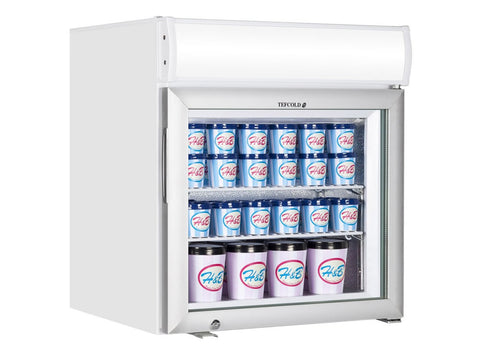 Tefcold UF50GCP Glass Door Display Freezer with Canopy, Chilled Display, Advantage Catering Equipment