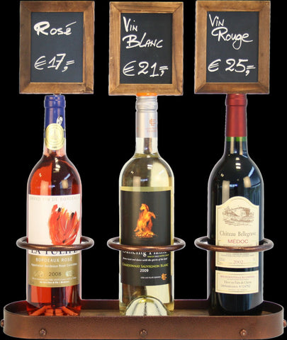 Genware WB-WR-3 Wine Bottle x3 Chalk Board Display 45 x 38.5cm, Menu,Signs & Display, Advantage Catering Equipment