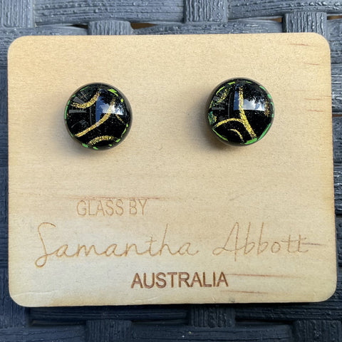 Samantha Abbott Dichroic Art Glass earrings - black variations