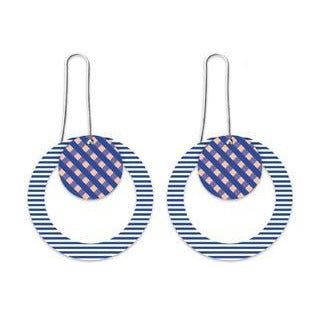 MOE MOE INDIGO STRIPED GINGHAM LAYERED CIRCLE OUTLINE LONG DROP EARRINGS