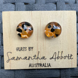 Samantha Abbott Dichroic Art Glass earrings - brown variations