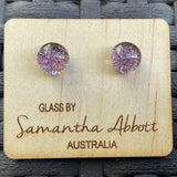 Samantha Abbott Dichroic Art Glass earrings - purple variations