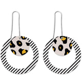 MOE MOE BLACK LINED LEOPARD LAYERED CIRCLE OUTLINE LONG DROP EARRINGS