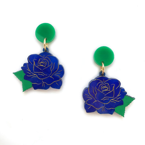 Rose earrings - Blue Crystal