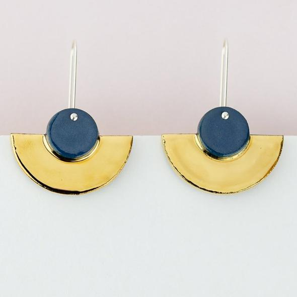 Erin Lightfoot Crescent Earrings - Blue