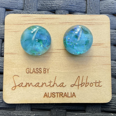 Samantha Abbott Dichroic Art Glass earrings - blue variations