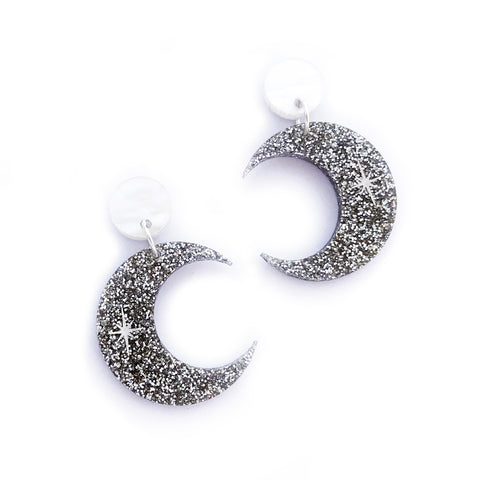 Silver Glitter Crescent Moon earrings
