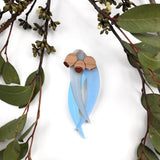 Blue Gumnut and Leaves brooch