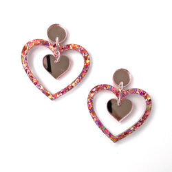 Double Heart earrings - Pink chunky glitter