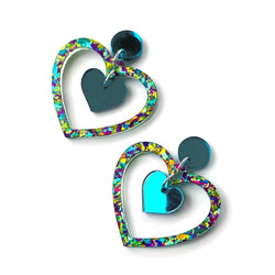 Double Heart earrings - Teal chunky glitter