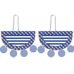 INDIGO STRIPE GINGHAM LAYERED MOON OUTLINE LONG DROP EARRINGS
