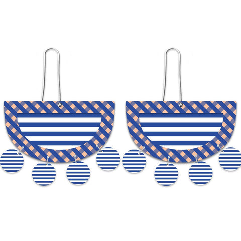 MOE MOE INDIGO STRIPE GINGHAM LAYERED MOON OUTLINE LONG DROP EARRINGS