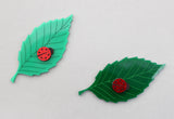 Ladybug on Leaf brooch