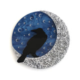 Moon Raven brooch - Blue