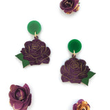 Rose earrings - Purple Marble
