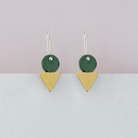 Tri-Stack Earrings - Green
