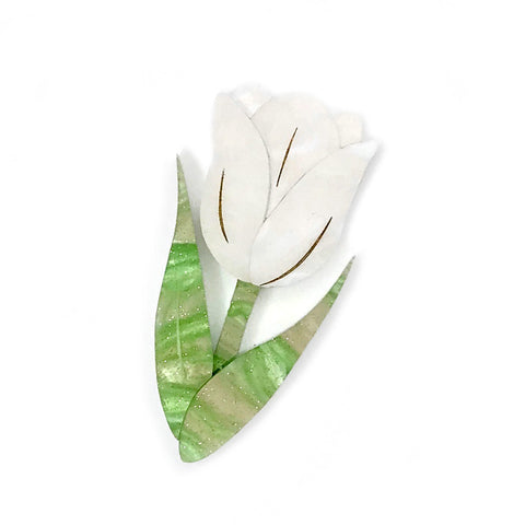 Tulip brooch - White/Gold