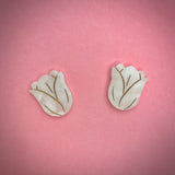 Tulip earrings - White/Gold