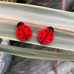 Ladybug acrylic earrings