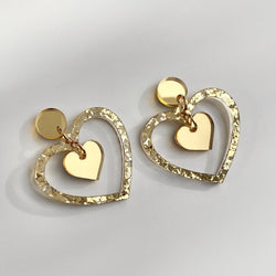Double Heart earrings - Gold chunky glitter