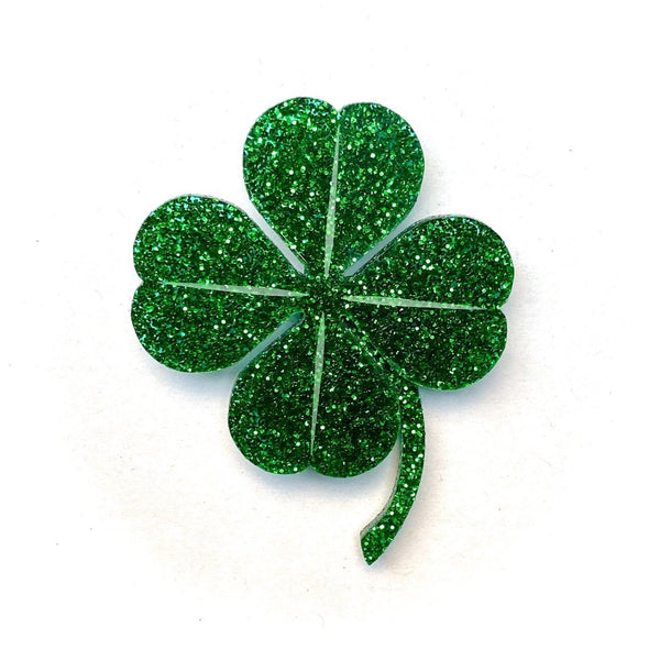Four Leaf Clover brooch - dark green glitter