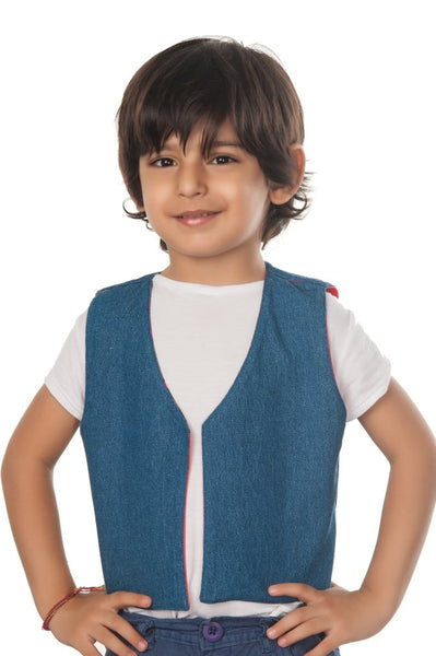 Reversible Kids Jacket White Blue Sketch
