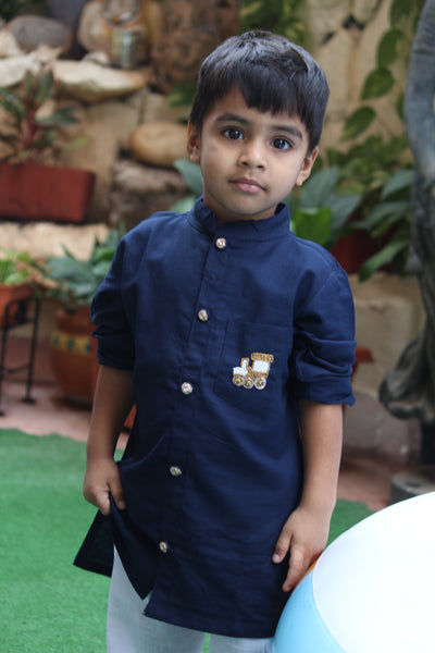Blue Sherwani With White Pyjama