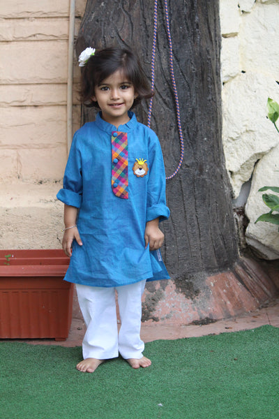 Kurta Blue Lion with Pyjama
