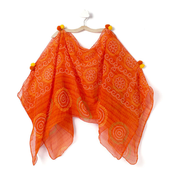 Orange Bandhni Burst Cape