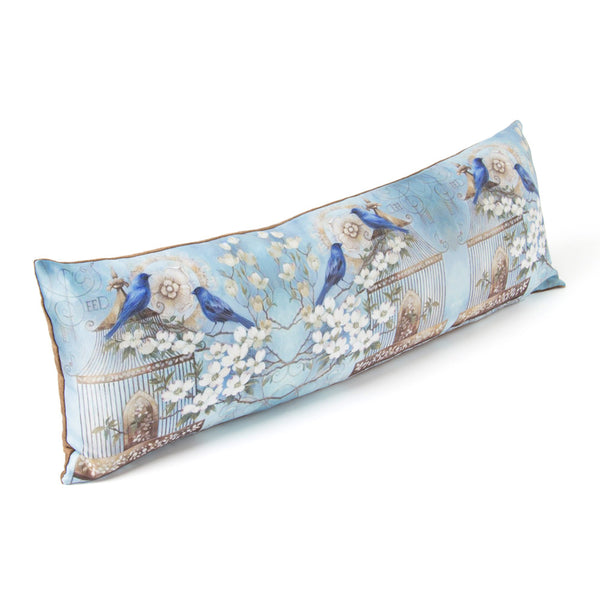 Long Cushion Blue Birds with Cage