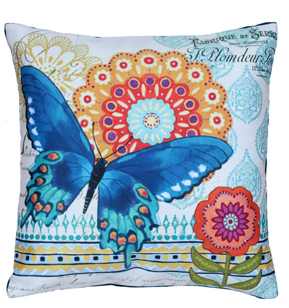 Cushion Cover Big Blue Butterfly Orange Flower
