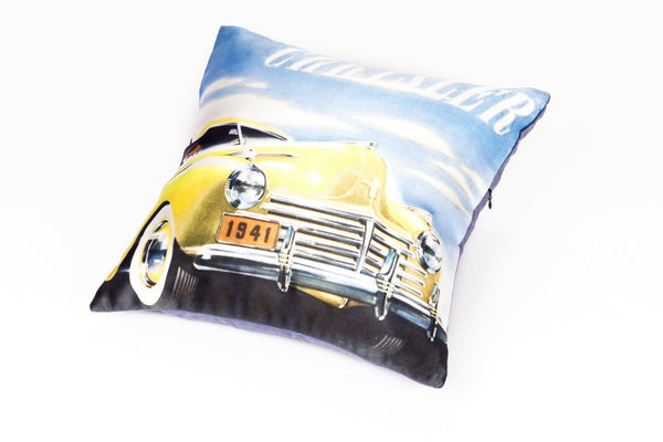 CUSHION COVER YELLOW VINTAGE CAR