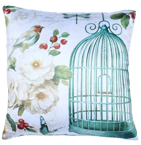 Cushion Cover Bird Cage Green